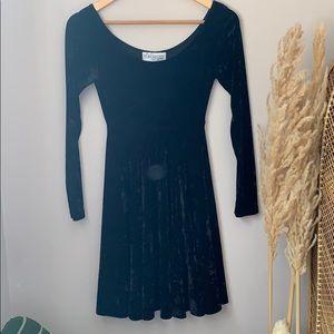 Vintage Black Crushed Velvet Dress Size S